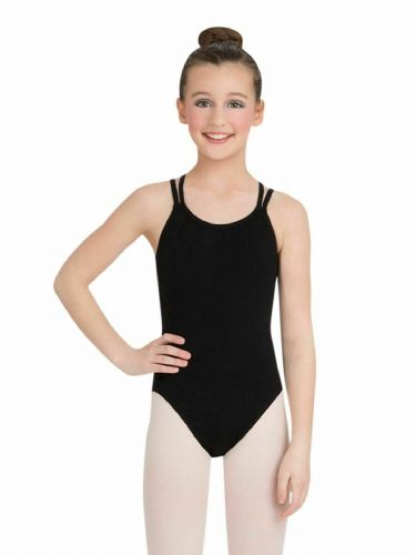 Capezio Child Girls Camisole Leotard with Double Strap Back Cotton CC123C Black